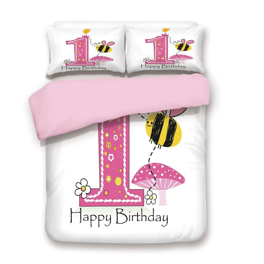 ALLMILL Pink Duvet Cover Set,Full Size,Cartoon Like Image with Bees Party Cake Candle Print,Decorative 3 Piece Bedding Set with 2 Pillow Sham,Best Gift for Girls Women,Pink Black and Yellow