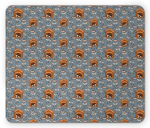 Dog Bone Mouse Pad, A Puppy Sleeping in a Doghouse Pattern with Paw Prints and Food Bowl Illustration, Standard Size Rectangle Non-Slip Rubber Mousepad, Multicolor
