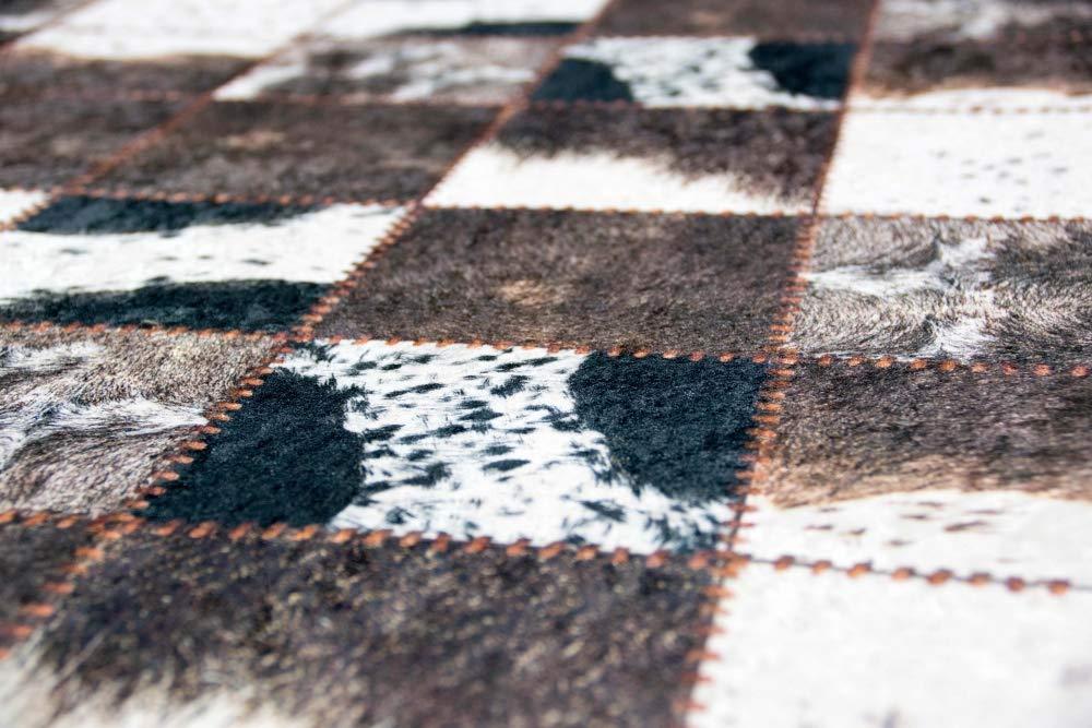 M/érinos Patchwork de Tapis en Peau de Vache Brun cr/ème Noir Gr/ö/ße 80x150 cm