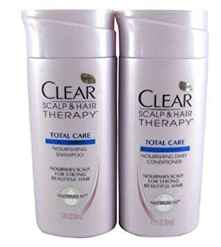 Amazon Com Clear Travel Size Shampoo Conditioner 1 7oz Each Scalp Hair Total Care Kit Beauty