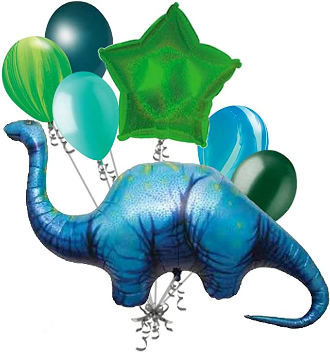 Dinosaur 2nd Birthday Balloon Bundle Party Decorations for Two Year Old Second Birthday Brontosaurus Apatosaurus
