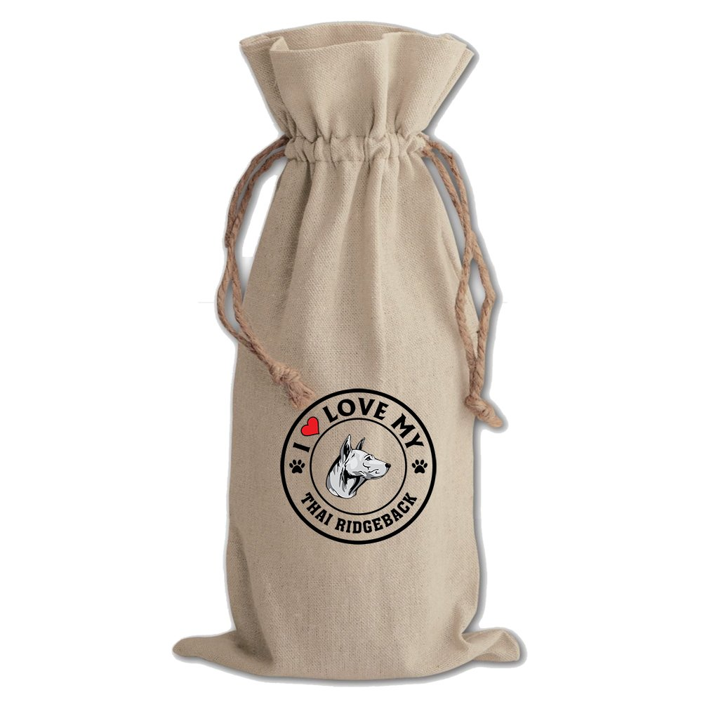 Canvas Wine Drawstring Bag I Love My Thai Ridgeback Dog Style 1 Style In Print