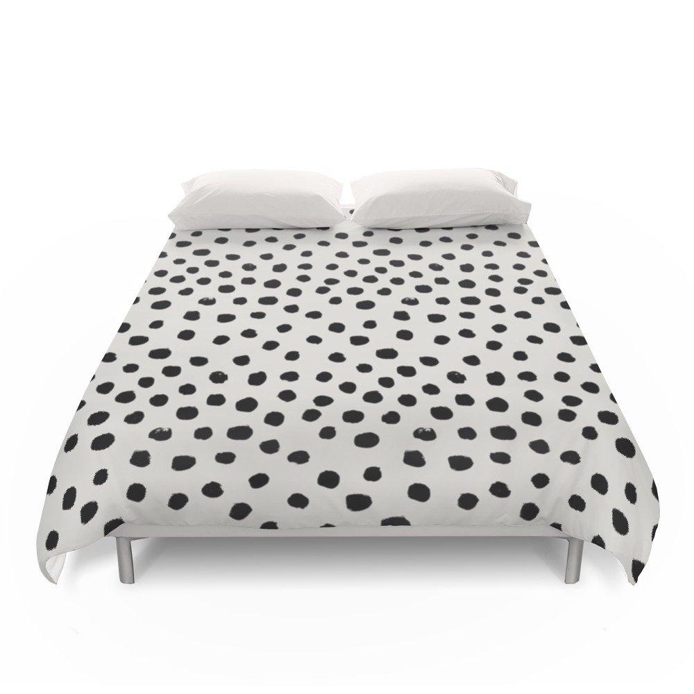 Society6 Preppy Brushstroke Free Polka Dots Black And White Spots Dots Dalmation Animal Spots Design Minimal Duvet Covers Full: 79'' x 79''