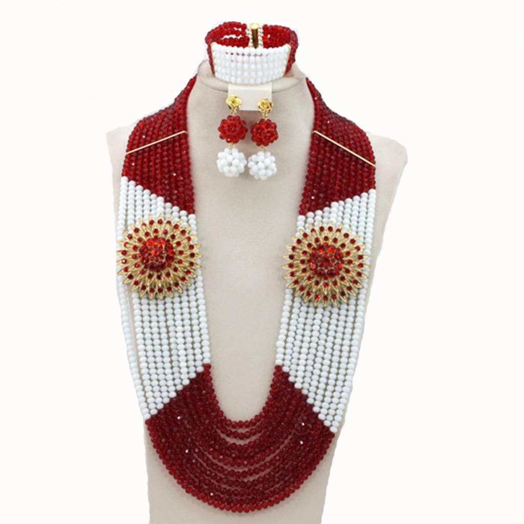 Soyagift Africa Wedding Long Style Flowers White Red Crystal Beads Jewelry Set by Soyagift