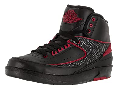 Nike Jordan Mens Air Jordan 2 Retro Black Varsity Red Basketball Shoe 8 Men  US f46aa5f49