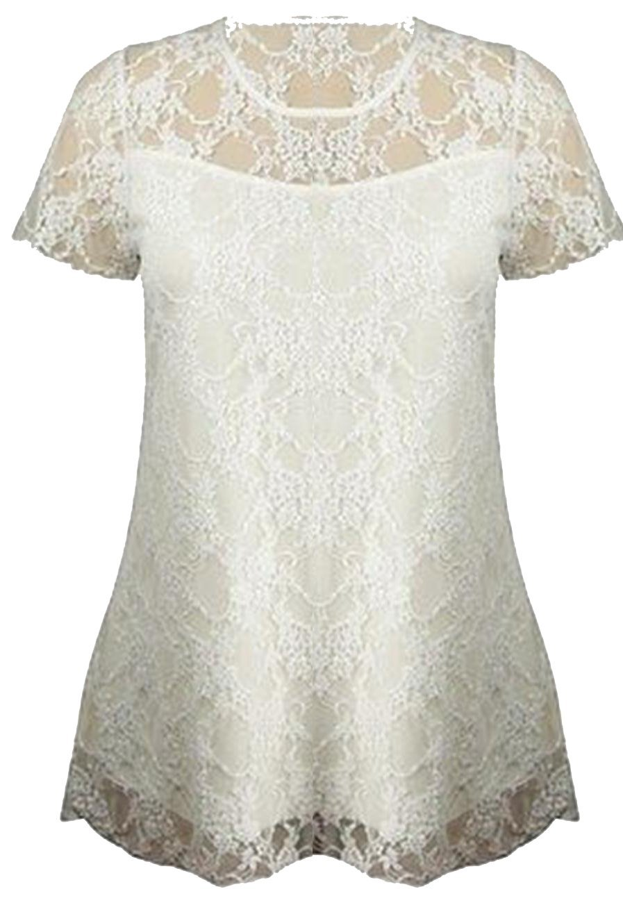 Women Plus Size Short Sleeve Top Womens Stretch Fit Lace Floral Dress (18/20, White) by Xclusive Collection (Image #1)