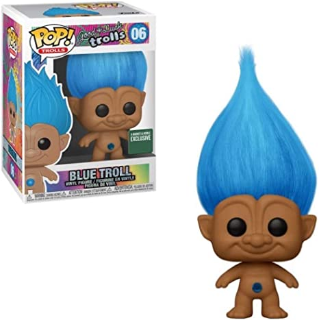 Blue Troll with Hair US Exclusive Pop Vinyl Trolls RS -FUN44609-FUNKO