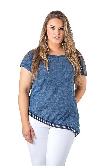 8ea68258455 Standards   Practices Plus Size Modern Women s Wide Neck Asymmetrical Denim  Top ...