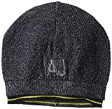 Armani Exchange Men's Logo Wool Blend Knit Beanie, Blue/Grey, One Size