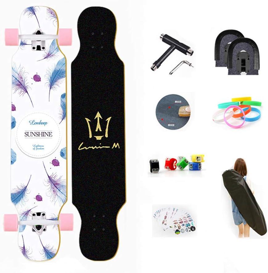 WRISCG Longboard Tabla Completa 107cm x 25cm 8 Capas de Madera de Arce Skateboard 70x51mm Ruedas de PU Drop-Through Freeride Skate Cruiser Boards Rodamientos ABEC Alta velicidad