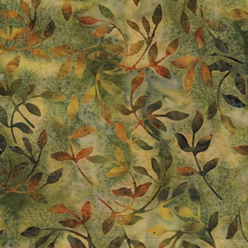 Island Batik Sweet Georgia Peach Leafy Quilt Fabric Style 12150/8283 Brown ()