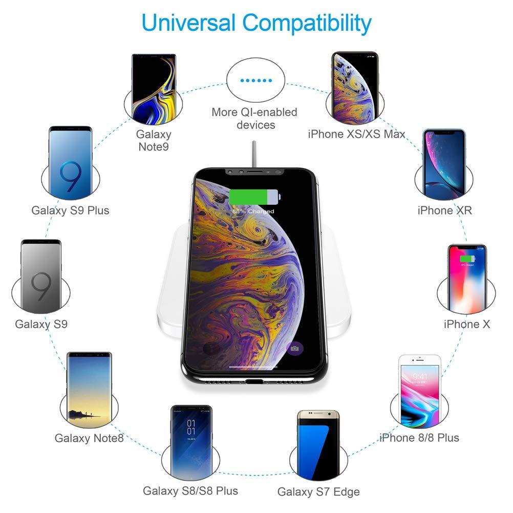 Caricabatterie Wireless per iPhone XS//XS Max//XR//X//8//8 Plus CHOETECH Caricatore Wireless Galaxy S10//S9//S9 +//S8//S8 +//Nota 8 e Tutti i Dispositivi Qi-Enabled Classe di efficienza energetica A++