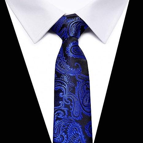 KYDCB Vangise Hombre Sólido Azul Marino Corbatas Clásicas para ...