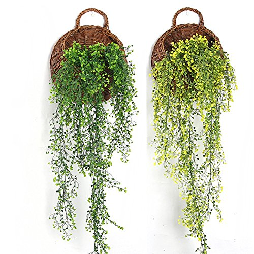 Xiaolanwelc@ Green Hanging Plant Plastic Artificial Weeping Willow Stem Vine for Willow Wall Shop Home Decoration Balcony Artificial Flower (green)