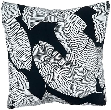 Fennco Styles Tropical Banana Leaf Design Outdoor Decorative Throw Pillow with Poly Filled Insert 17 x 17 Inch – Black and White Accent Pillow for Home, Patio, Garden and Lawn D cor