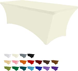 Eurmax 4Ft Rectangular Fitted Spandex Tablecloths Wedding Party Patio Table Covers Event Stretchable Tablecloth (Ivory)