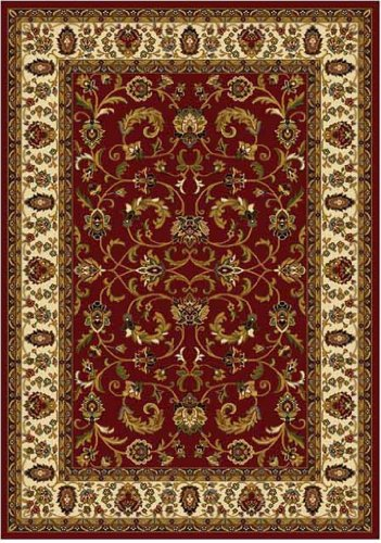 Home Dynamix Royalty 3208-215 Polypropylene 7-Feet 8-Inch by 10-Feet 4-Inch Area Rug, Red/Ivory