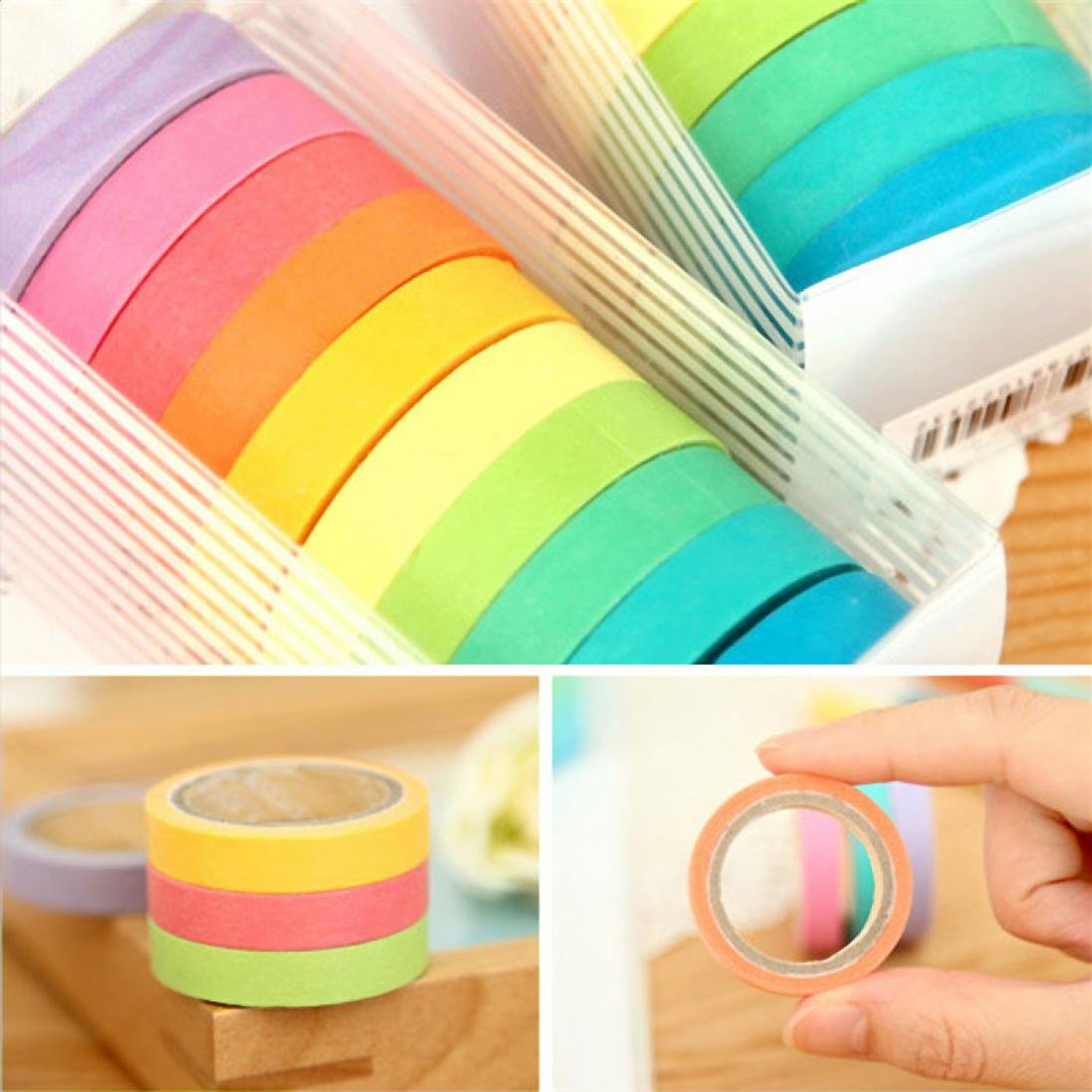 Voberry 10x Decorative Washi Rainbow Sticky Paper Masking Adhesive Tape Scrapbooking DIY by Voberry (Image #4)