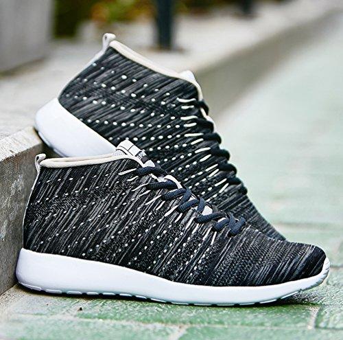 AFFINEST Scarpe Mesh Platform Dimagranti Sportive Basculanti Fitness Scarpe Da Ginnastica Sneaker Sommer und Winter schwarz-B