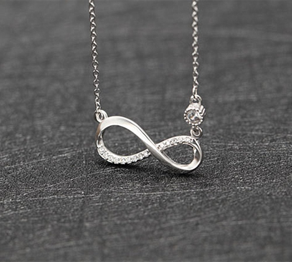 LOCHING Fashion Infinite Love Necklace Inlaid Zircon 925 Sterling Silver Necklace