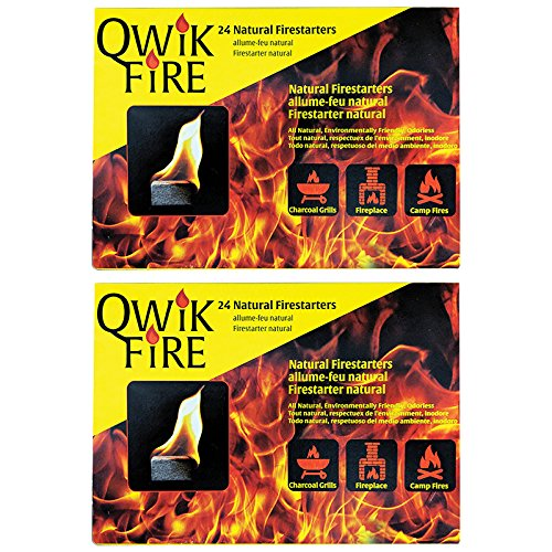 Blackwood Charcoal Qwik Fire 24 All Natural Fire Starters - 2 Pack (48 Total Firestarters)