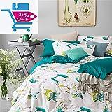 Brandream Floral Duvet Cover Set Full Size Girls Bedding Cotton Watercolor College Bedding Teal