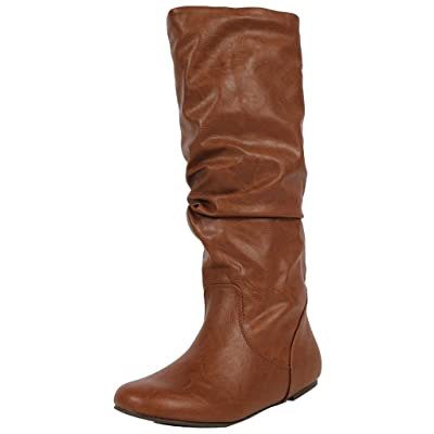 Soda Women's Zuluu-S Faux Leather Slouchy Knee High Flats Boots (Tan, 10 M US) | Knee-High