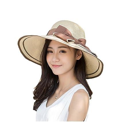 c1de60ece06 EUBUY Ladies Summer Straw Panama Foldable Bowknot Floppy Sun Hat Large Wide  Brim Beach Hat Cap
