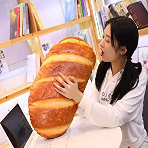 3D Simulation Bread Shape Plush Pillow,Soft Butter Toast Bread Food Cushion Stuffed Toy for Home Decor 23.6