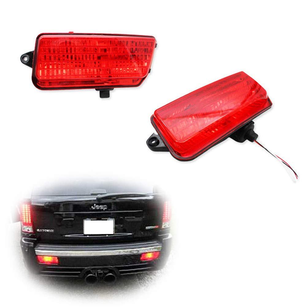 gtinthebox 2pcs red lens led rear fog lights kit for 2005 2010 jeep grand cherokee wk1, includes brilliant red led bulbs, foglamp assemblies \u0026 wiring Jeep Grand Cherokee Trailer Wiring