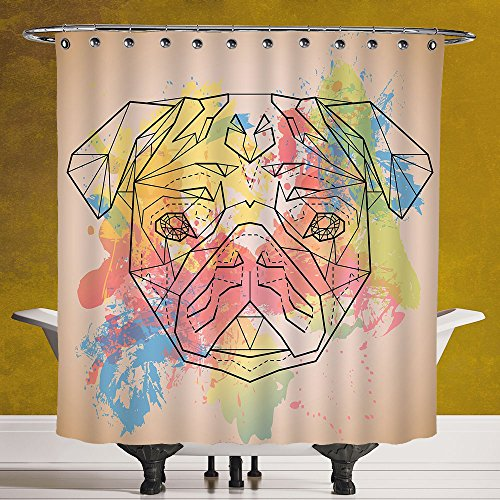Stylish Shower Curtain 3.0 by SCOCICI [ Pug,Vibrant Colored Background with Color Splashes and Line Art Design Face of a Pug Print Decorative,Multicolor ] Digital Printing Polyester Antique Theme - Contact Coloured Hut