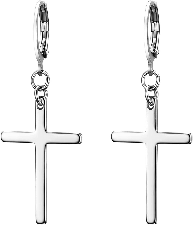 JewelryWe Pendientes largos de acero inoxidable con forma de cruz para hombre y mujer, color dorado y plateado