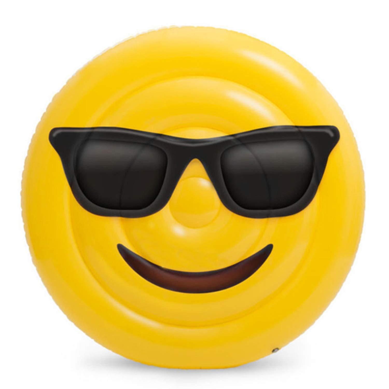 GYFY Respetuoso con el Medio Ambiente, PVC, expresión Inflable, Flotante, Fila, Gafas de Sol, Adultos, Cara Sonriente, Cama Flotante