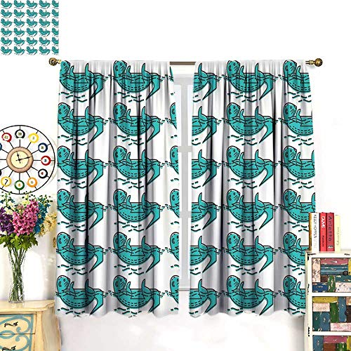 WinfreyDecor Otter Drapes for Living Room Abstract Otters with Geometrical Lines Circles Curves Animal FunBlackout curtainCharcoal Grey Turquoise White. W55 x ()