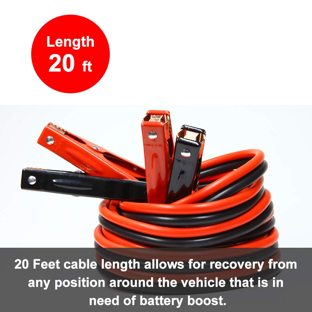 GOHAWKTEQ G5204C 4 Gauge 500A 20 Ft Heavy Duty Jumper Battery Cables Booster Jump Starter Replaces# AA-003-1A .