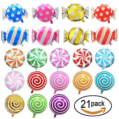 21 Pack Candy Balloons Set, Including 13 Pack Round Lollipop Balloons and 8 Pack Candy Shape Balloons, Candyland Party Decorations, Aluminum Balloons for Birthday Wedding Party ()