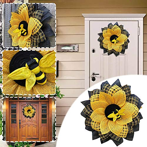 Gerbrief Party Decorations Wreath, Bumblebee Bee Supplies for Front Door, Happy Honey Bee Day Mesh Garland Wall Decor, Bee Sunflower Wreath Hanging Pendants Ornaments for Party Farmhouse Wedding (A)