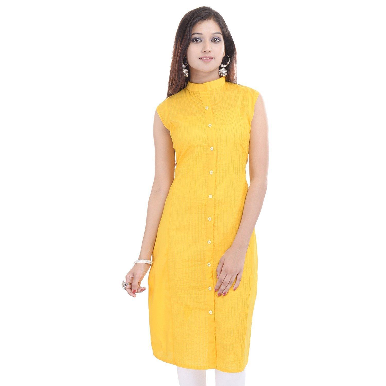 Chichi Indian Women Kurta Kurti Sleeve Less XX-Large Size Plain Straight Yellow Top