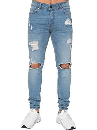 38cf2b05 New Enzo Mens Super Skinny Jeans Stretch Ripped Denim Pants Trousers All  Waist Size 28-42: Amazon.co.uk: Clothing