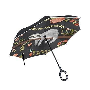 FOLPPLY Paraguas invertido Lindo, Sigue tu sueño con impresión Floral, Doble Capa, Paraguas