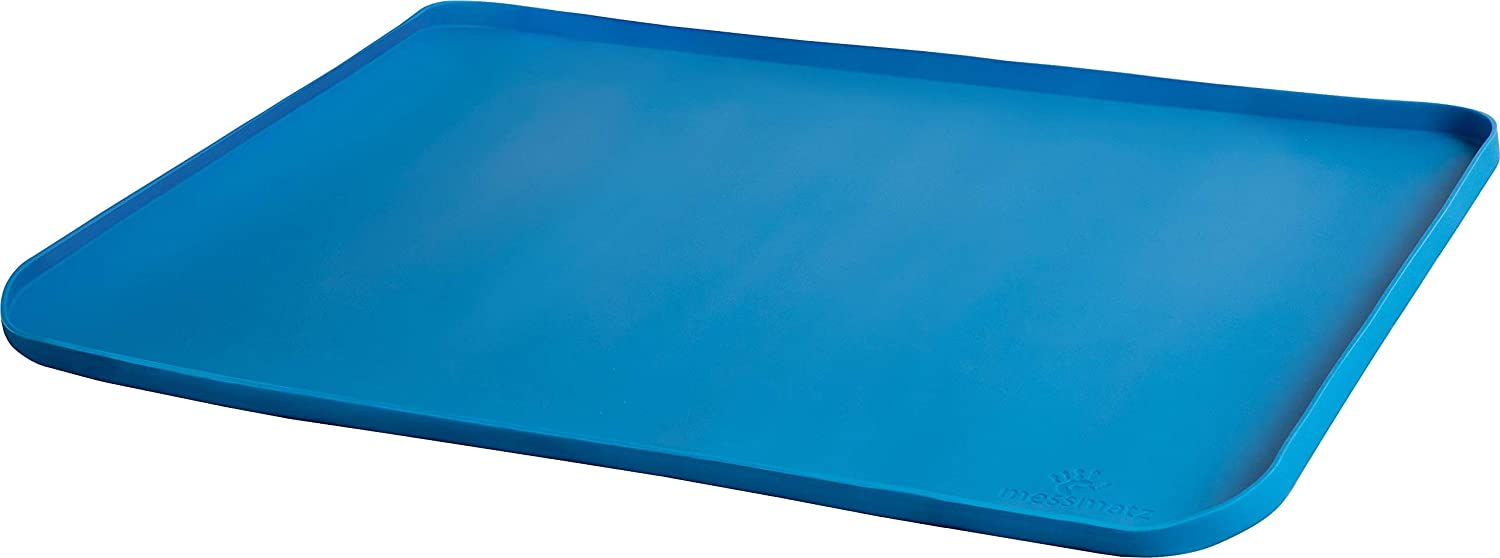 PlaSmart Messmatz Silicone Mat for Crafts, Snacks, Playtime (24 x 18) (Blue)