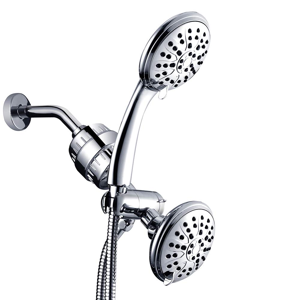 Handheld Showerhead & Rain Shower &15-Stage Shower Filter Combo-High Pressure 3-way Twin Shower Combo Lets You Enjoy Two 3-Setting 4.7-Inch Showers Separately or Together- Stainless Steel Hose-Chrome