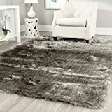 Safavieh SG511-7575-5 Paris Shag Collection Silver Polyester Area Rug, 5-Feet by 8-Feet