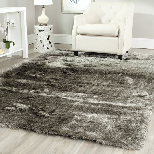 Safavieh Paris Shag Collection SG511-7575 Silver Polyester Area Rug (8' x ()