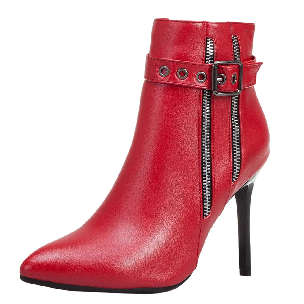 Dermanony Women's High Heel Boots Fashion Pointed Buckle Zipper Leather Boots Waterproof Platform Thin Heel Ankle Boots Red by Dermanony _Shoes