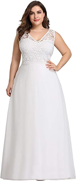 Ever-Pretty Women\'s Plus Size V-Neck Floral Lace Bridesmaid Dress 07686