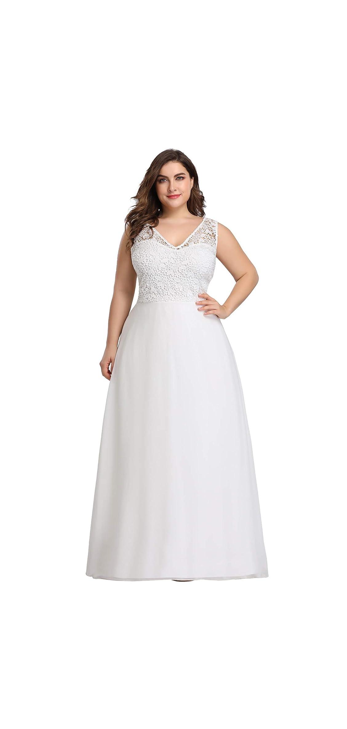 Women's Plus Size V-neck Floral Lace Bridesmaid