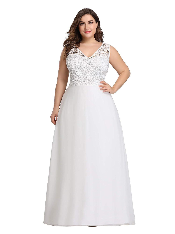 Ever Pretty Women S Plus Size V Neck Floral Lace Bridesmaid Dress