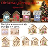 Gorgebuy Chirismas Cabin Shape Pendants - Small Wooden House Ornament with LED Nightlight for Christmas Tree Pendant Gifts Window Decoration with Battery Built-in