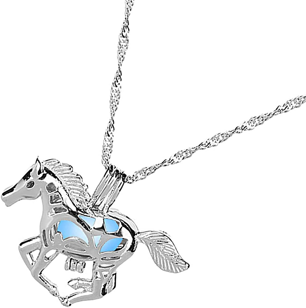 Muzi Glow in Dark Hollow Running Horse Necklace Luminous Bead Pendant Fluorescent Charm Necklace